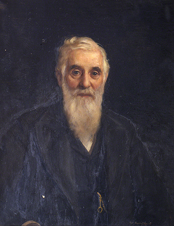 An oil painting of the prophet Lorenzo Snow with a long beard, wearing a black suit and a watch chain.