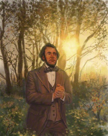 A painting of Lorenzo Snow soon after his baptism and confirmation, kneeling and praying in the woods with the sun shining through the trees.