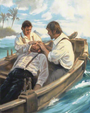 A depiction of Lorenzo Snow lying in a boat near a Hawaiian island, receiving a blessing from his two companions, who are placing their hands on his head.