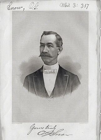 A portrait of Lorenzo Snow's father, Oliver Goddard Snow, with a mustache, wearing a white shirt, bow tie, and black suit.