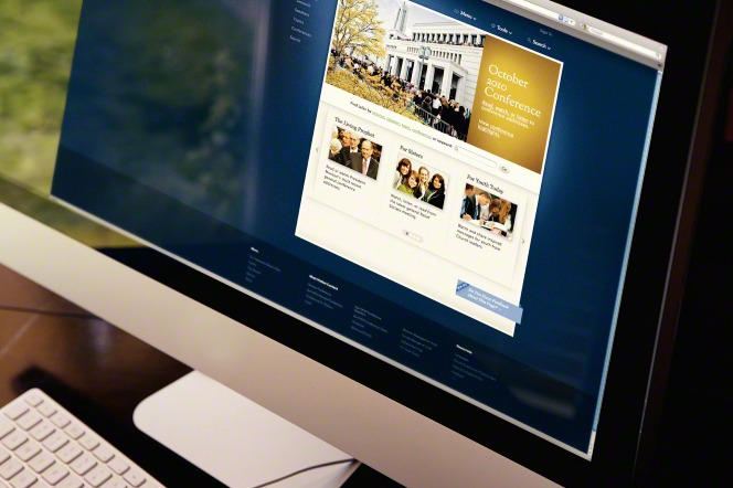 A keyboard next to a monitor displaying the October 2010 general conference on LDS.org.