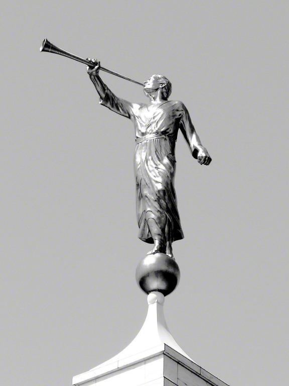 Angel Moroni Black-and-White Detail