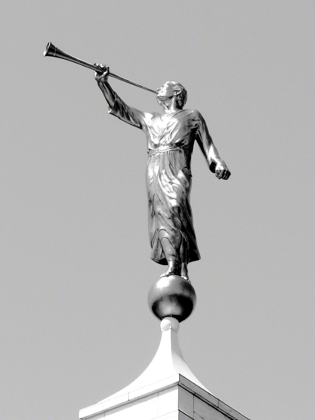 angel moroni black and white detail