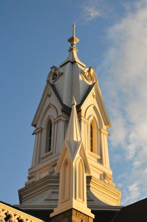 A view of the main spire on the Salt Lake Assembly Hall, with one of the smaller spires seen in the foreground.