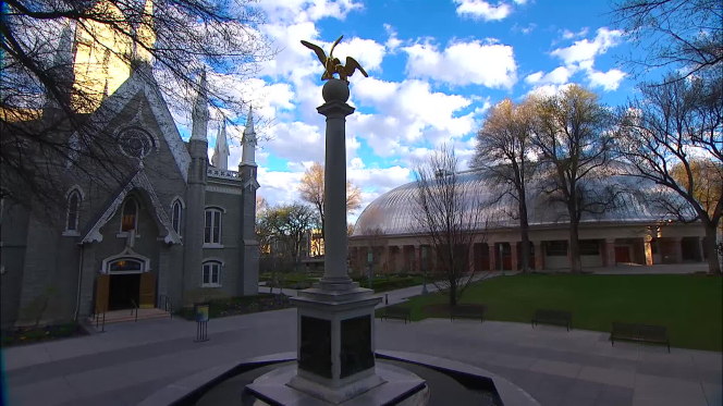A photo of the seagull statue outside the Assembly Hall on Temple Square.