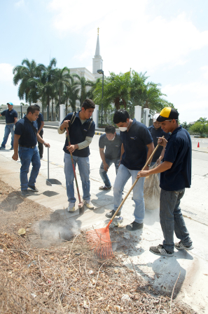 Men in dark blue shirts raking up sticks and sweeping the sidewalk outside of the Guayaquil Ecuador Temple.