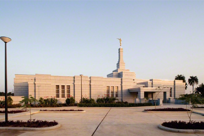 The Aba Nigeria Temple in the morning, with small trees growing on the grounds.