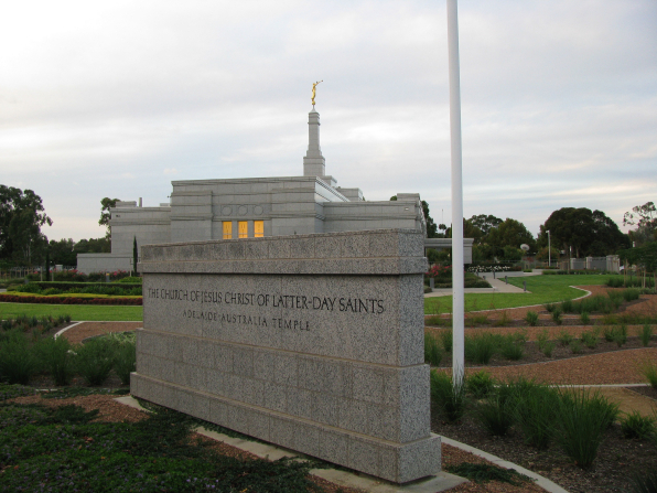 "A granite sign outside of the Adelaide Australia Temple that says, ""The Church of Jesus Christ of Latter-day Saints: Adelaide Australia Temple."""