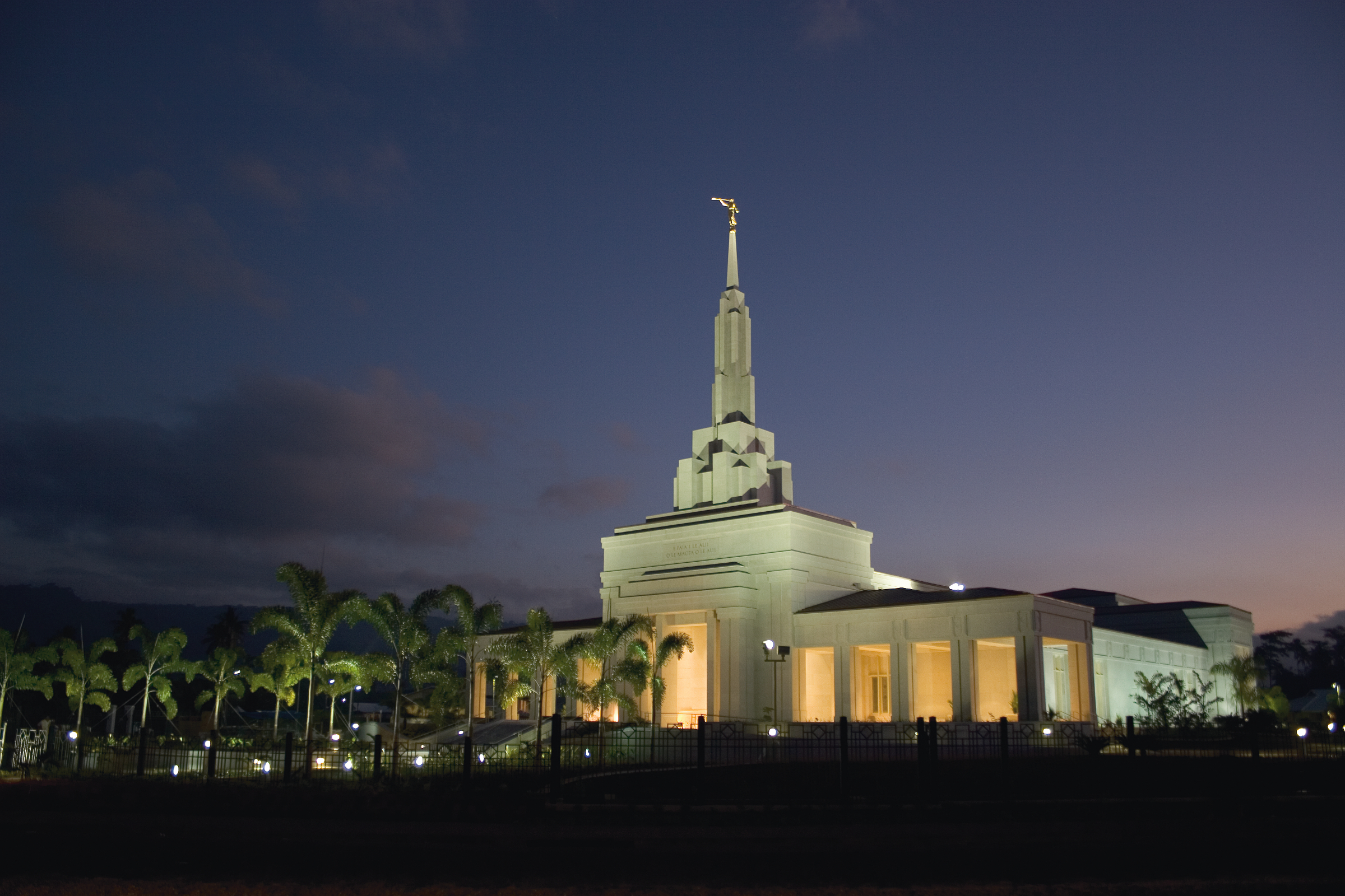Apia Samoa Temple And Grounds At Night
