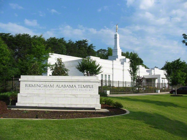 "The granite sign on the grounds of the Birmingham Alabama Temple that says, ""Birmingham Alabama Temple: The Church of Jesus Christ of Latter-day Saints."""