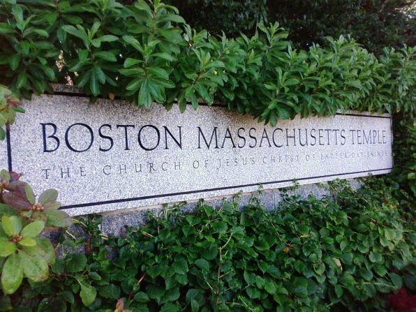 "The granite sign outside of the Boston Massachusetts Temple that says, ""Boston Massachusetts Temple: The Church of Jesus Christ of Latter-day Saints."""