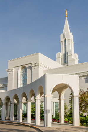 The front entrance to the Bountiful Utah Temple, with the temple's arches in prominent view.