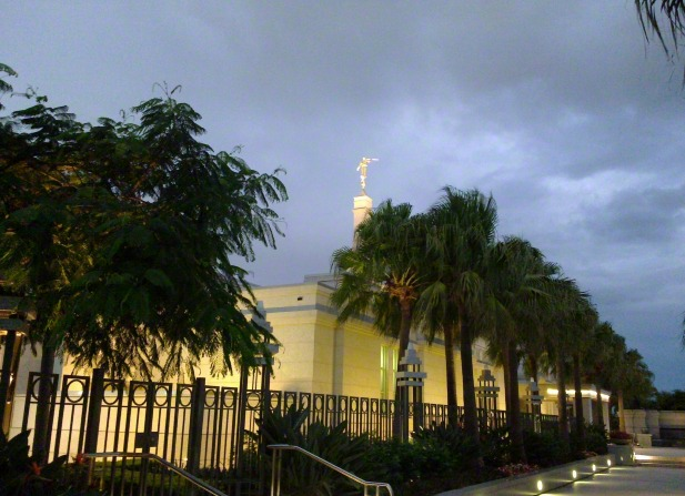 The back of the Brisbane Australia Temple in the evening, with the lights on and palm trees growing near the walls.