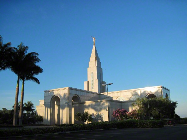 The Campinas Brazil Temple in the daytime, with the grounds and palm trees growing near the walls.