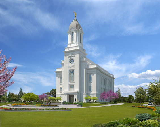 An artist's rendering of the exterior of the Cedar City Utah Temple.