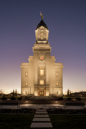 The exterior of the Cedar City Utah Temple in the late evening.