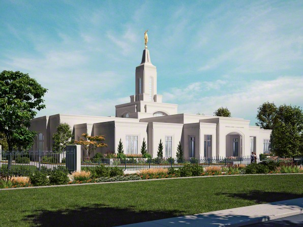A computer-generated rendering of the Córdoba Argentina Temple in the daytime, showing trees and green lawns on a sunny day.
