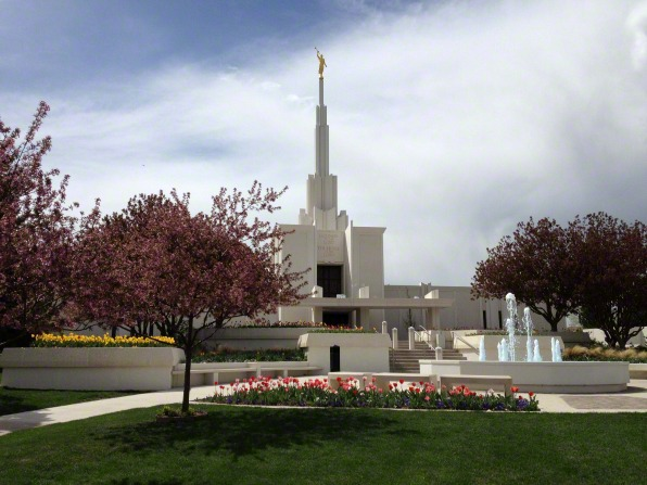 The Denver Colorado Temple and grounds on a spring day, with the trees in full bloom.