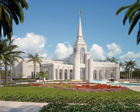 A digital artistic rendering of the Fort Lauderdale Florida Temple on a sunny day, with temple-goers walking toward the front doors.