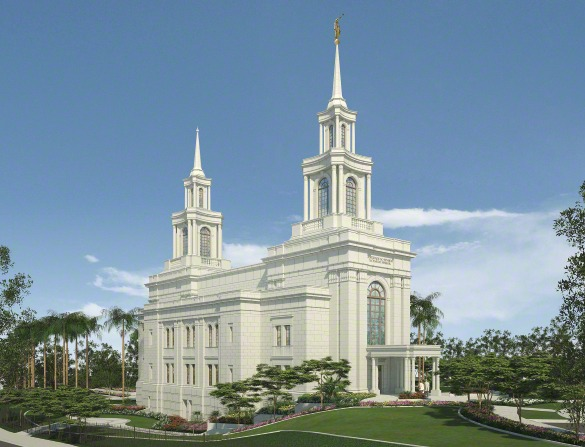 An artistic rendering of the Fortaleza Brazil Temple on a sunny day, with green lawns and large trees on the grounds.