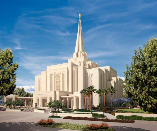 A digital artistic rendering of the Gilbert Arizona Temple on a sunny day, with two large green trees growing near the front of the temple.