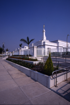 A view from afar of the Guadalajara Mexico Temple and grounds, with palm trees, plants, and flowers growing in abundance.