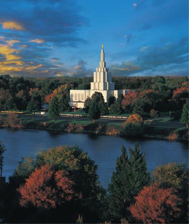 A fall scene of the area surrounding the Idaho Falls Idaho Temple.