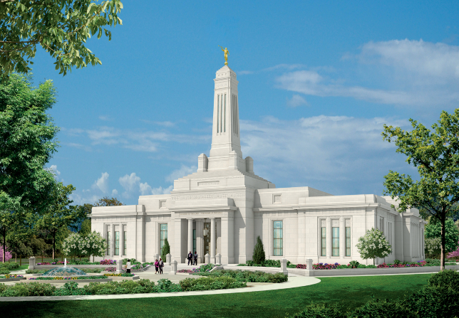 An artist's rendering of the Indianapolis Indiana Temple, with people walking on the grounds.