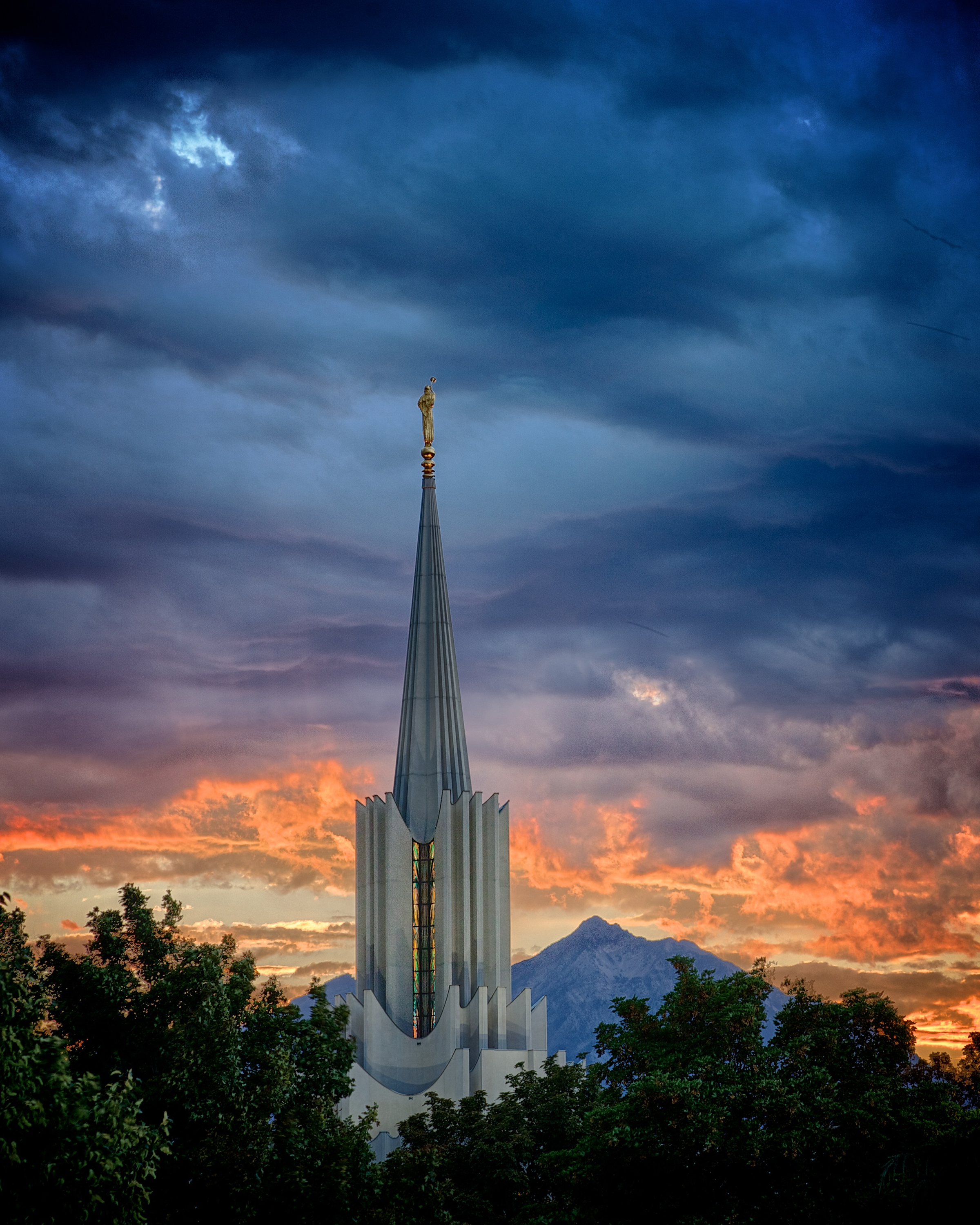 The Spire Of The Jordan River Utah Temple At Night