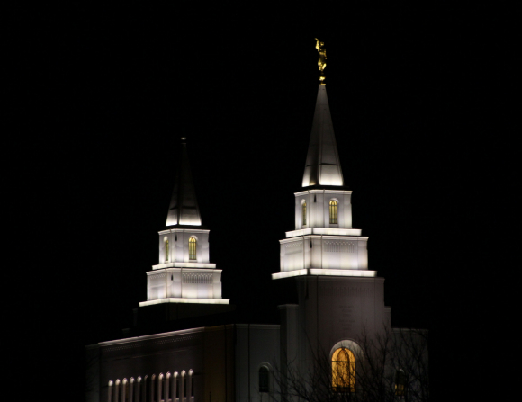 The two spires of the Kansas City Missouri Temple illuminated at night, with a bare tree in the foreground.