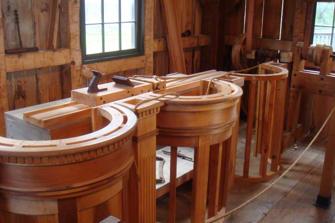 A workshop where wooden pews for the Kirtland Temple are being constructed.