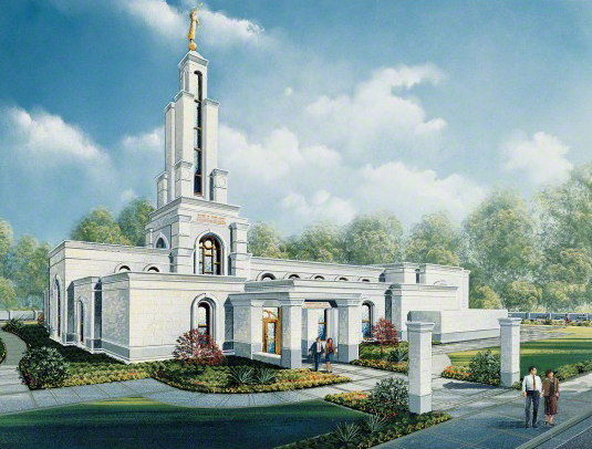 An artist's rendition of the Lubbock Texas Temple on a sunny day, with rows of trees in the background and people walking in and out of the doors.