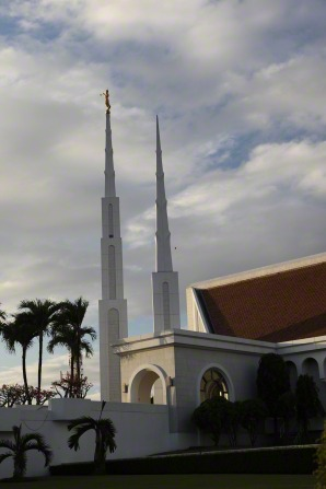 A side view of the Manila Philippines Temple spires and entrance.