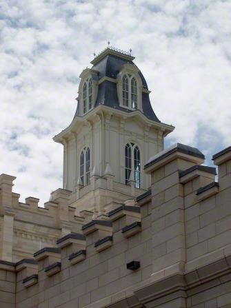 A close-up view of one of the Manti Utah Temple spires, including part of the exterior of the temple.