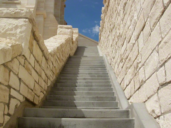 Stone stairs leading up to the side of the Manti Utah Temple.