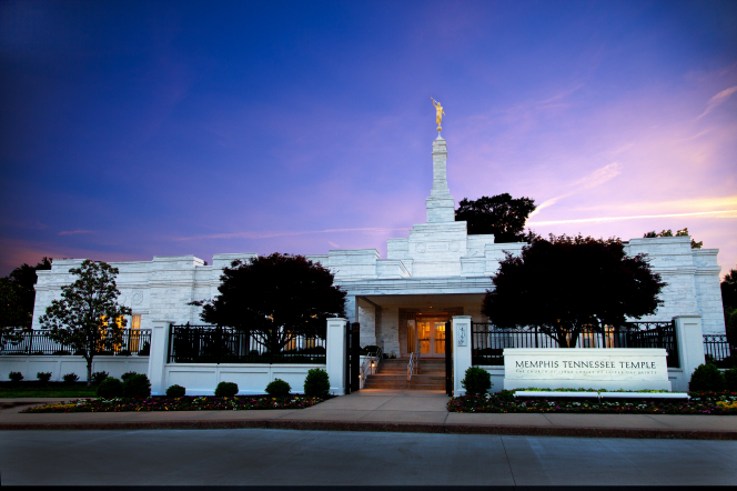 The Memphis Tennessee Temple name sign at sunset.