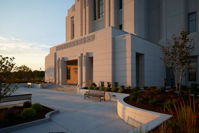 A detail photograph of the Meridian Idaho Temple entrance at sunset.