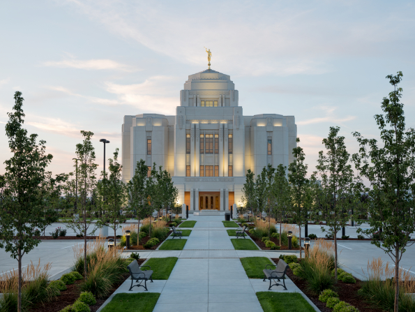A view of the grounds and the path leading up to the front entrance of the Meridian Idaho Temple.
