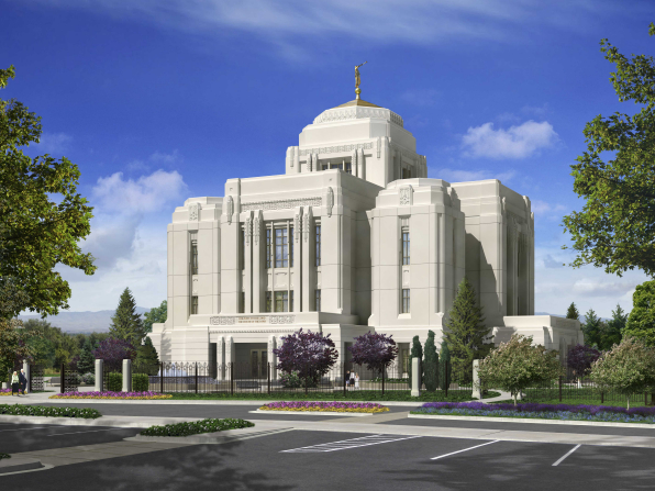 An artist's rendering of the exterior of the Meridian Idaho Temple.