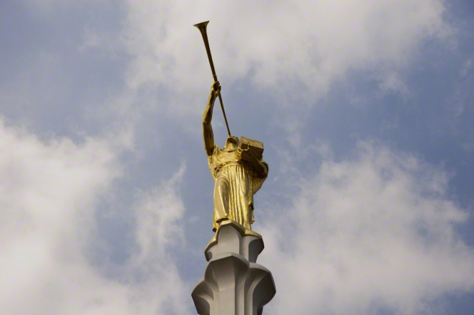 A close-up view from a low angle of the angel Moroni statue on the Mexico City Mexico Temple spire.