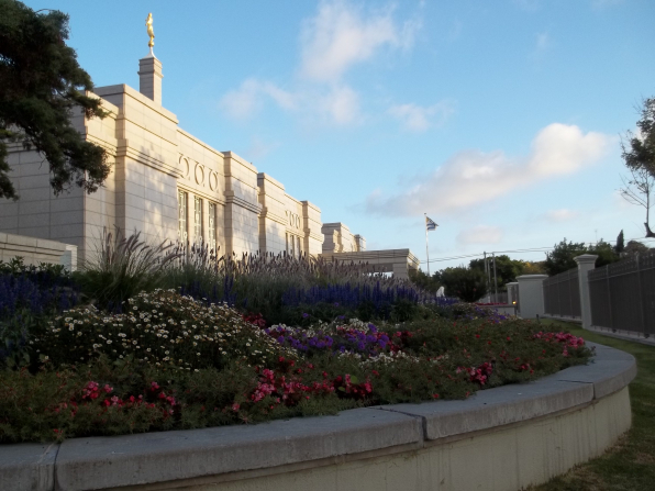 A garden of flowers and plants on the grounds of the Montevideo Uruguay Temple.