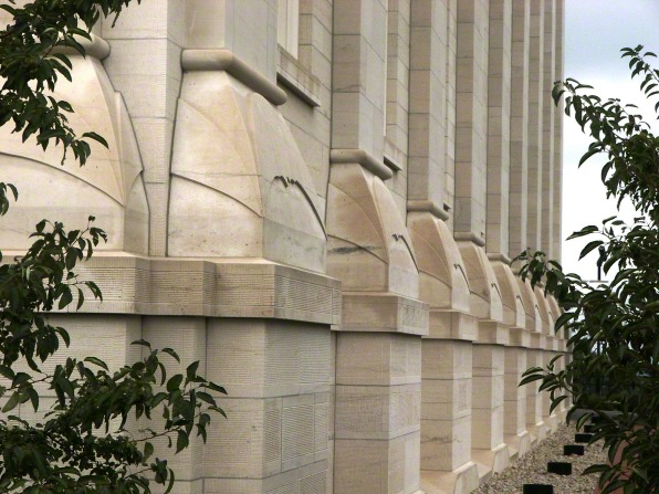 A detail of the bases on the pillars that line the outside walls of the Nauvoo Illinois Temple.