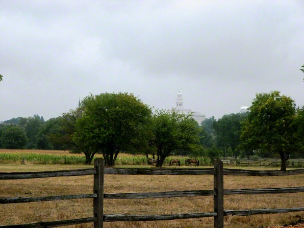 The Nauvoo Illinois Temple seen from a distance, with a wooden fence in the foreground enclosing several horses on a grassy field.