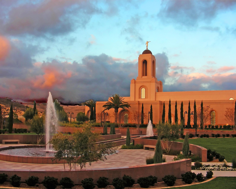 Newport Beach California Temple At Sunset