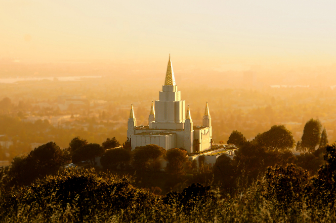 A view of the Oakland California Temple from above, showing the surrounding area in yellow evening light.