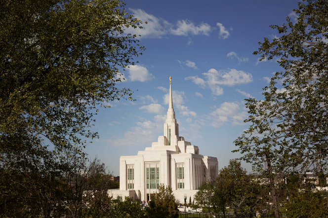 The entire Ogden Utah Temple on a sunny day, framed by the leaves of nearby trees.