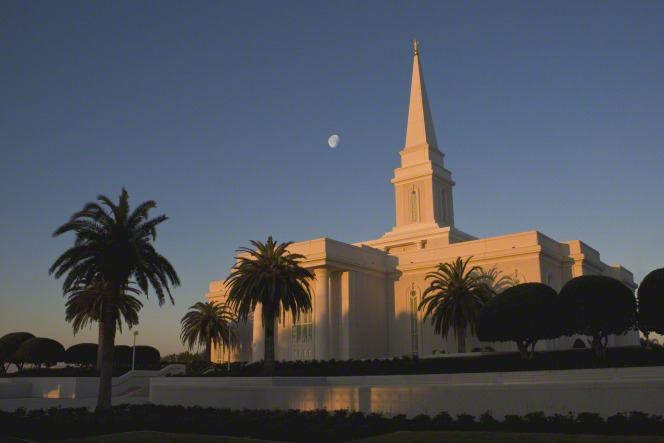 The Orlando Florida Temple at dusk with palm trees growing on the grounds and the moon rising to the left of the temple's spire.
