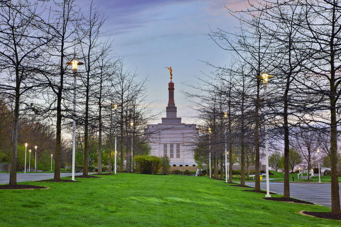 A row of trees and street lights leading up toward the Palmyra New York Temple, seen in the distance at dusk.