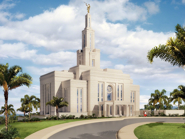 An artist's rendition of the Panama City Panama Temple in the daytime, with palm trees on the grounds and people walking up the path toward the temple.