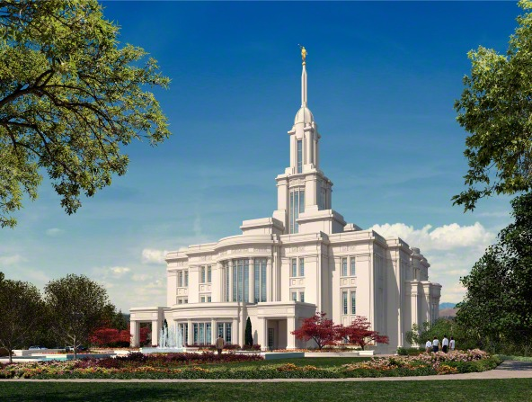 An artist's rendition of the Payson Utah Temple, with trees growing on the grounds and people walking up the path to the entrance.